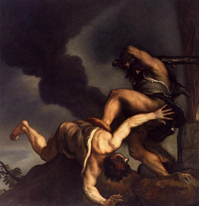 Titian (1542-44). 카인과 아벨. 형제 간의 갈등은 인류의 자연적 본성이다. 산타마리아 델라 살루트 소장. - 위키미디어 제공
